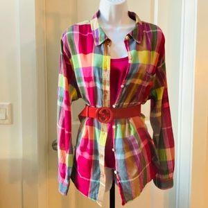 Magenta Plaid Button Up Shirt
